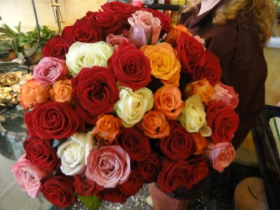 Bouquet rose multicolore